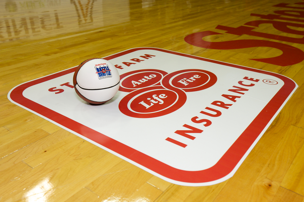 2011 Battle in Seattle - State Farm Logo on Court.jpg