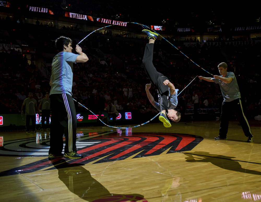 The Electrick Jumpers performing at halftime of a Portland Trailblazers NBA Playoff game in 2014.