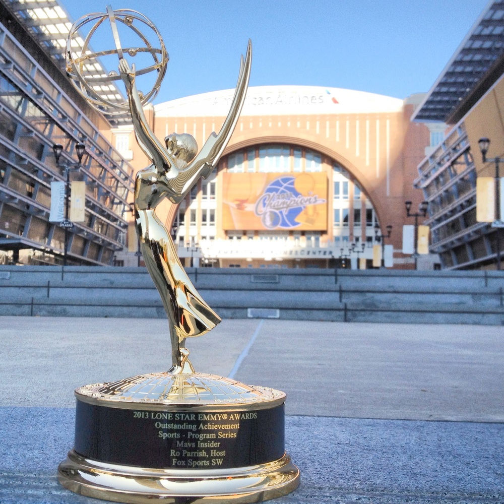 Ro's career highlight - his Emmy Award from his work on 'Mavs Insider'.