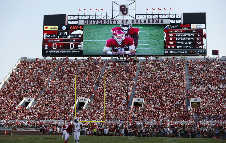 The Oklahoma Sooners won the Best Overall Big Screen Display honor given by Information Display and Entertainment Association. (Photo credit: NewsOK.com)