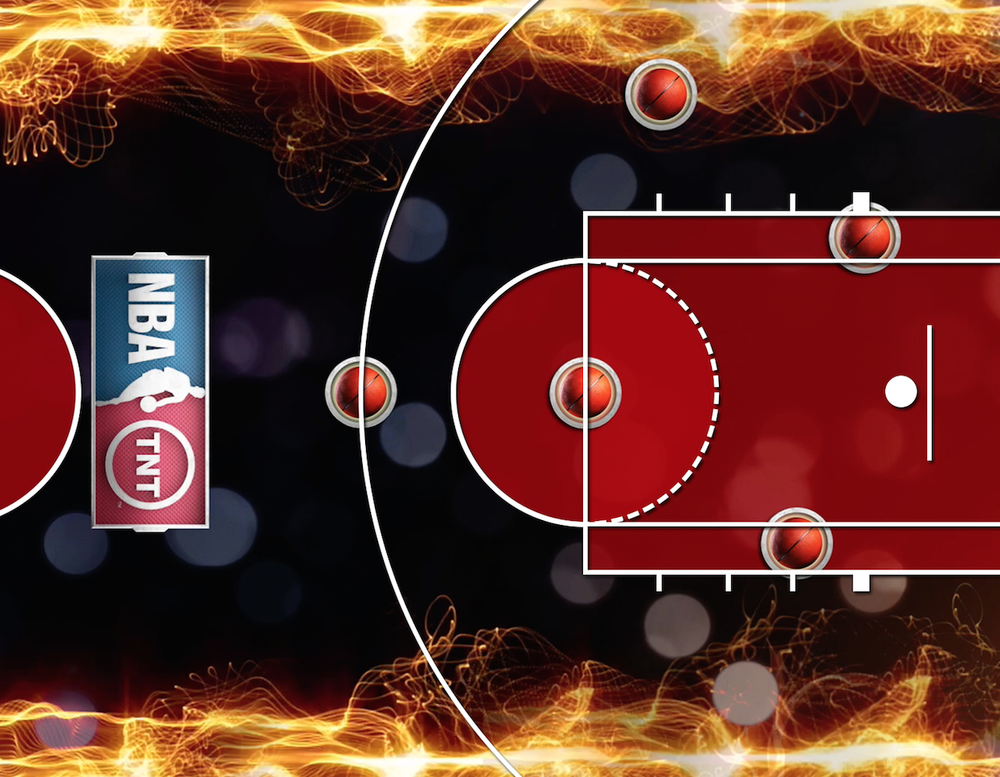 "Another LED court graphic still example, this one from the ""Hot Shot"" contest."