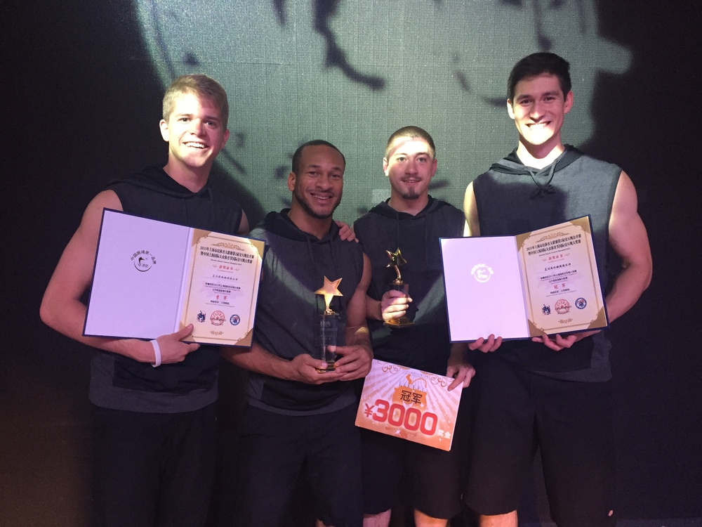 Members of Electrick Jumpers (left to right) LJ LaVecchia, Nick Woodard, JJ Crim and Brian Hsu posing with their World Jump Rope 2015 awards.