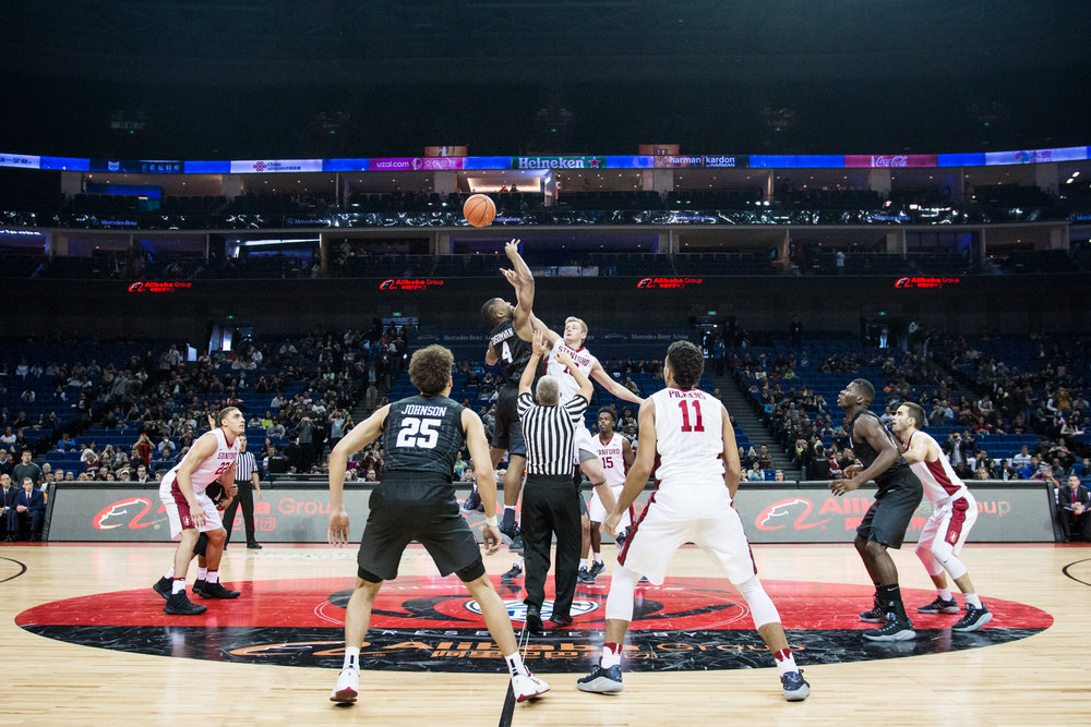 The 2016 Pac-12 China game featured Harvard vs. Stanford at Mercedes Benz Arena in Shanghai.
