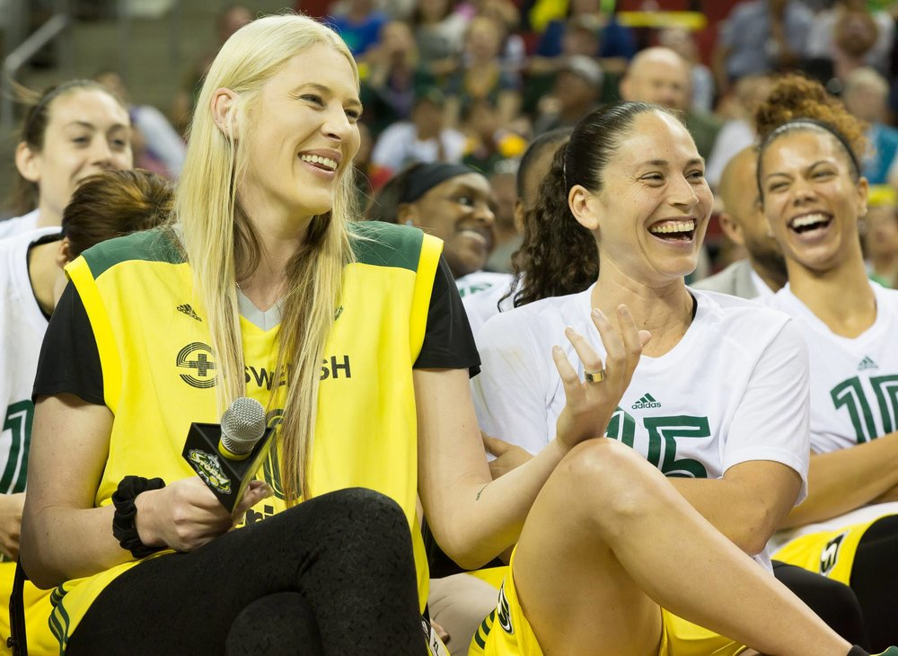 Consulting_Seattle Storm_2016 Lauren Jackson Retirement Ceremony w Sue Bird.jpg