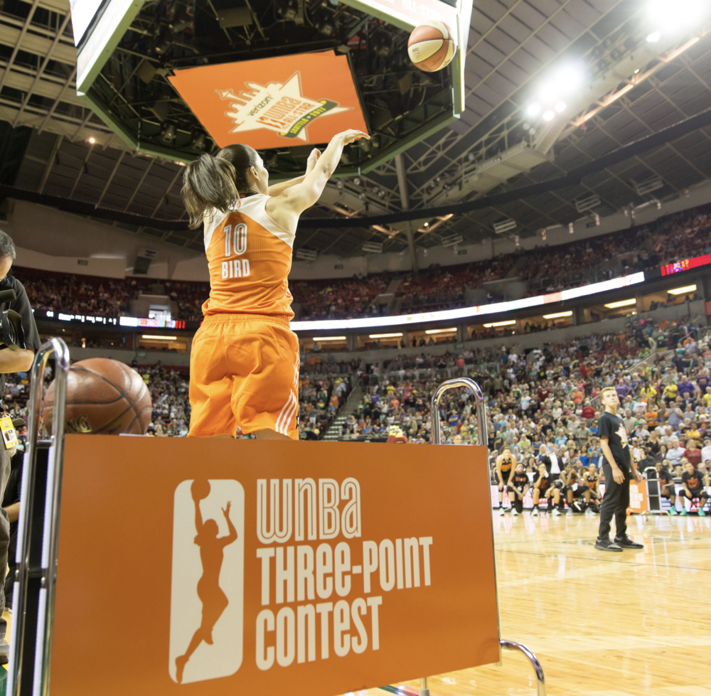 Sue Bird competing in the WNBA Three-Point Contest at Halftime.