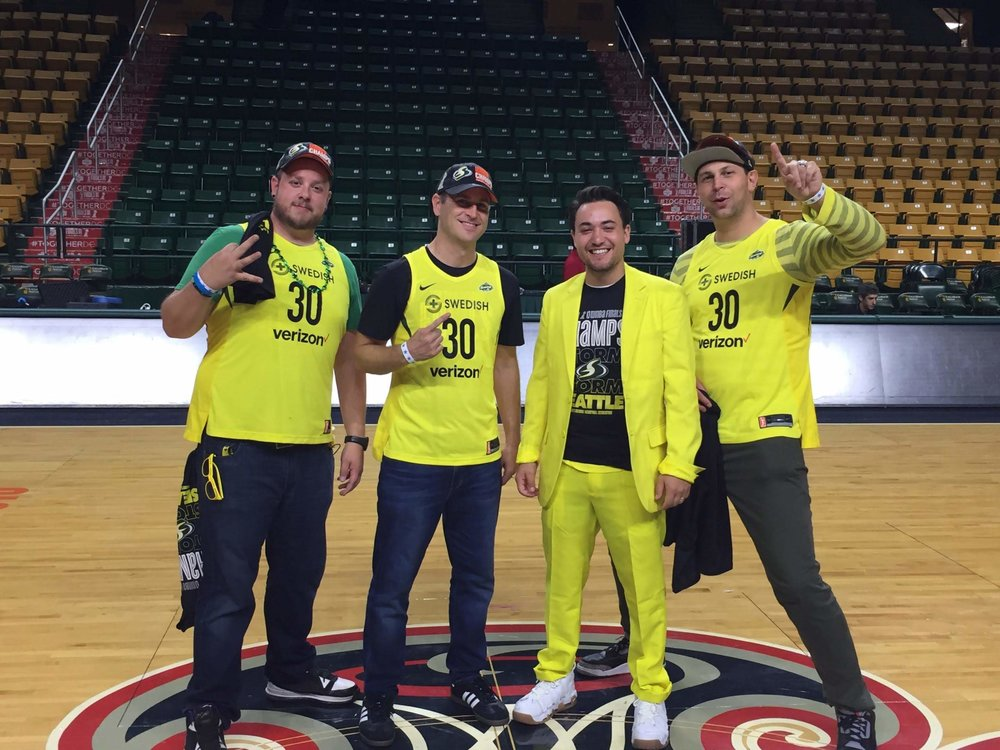 3PT repping Seattle hard at Game 3 of the WNBA Finals in D.C. (Side note: Sue Bird now owns Derrick's yellow suit)