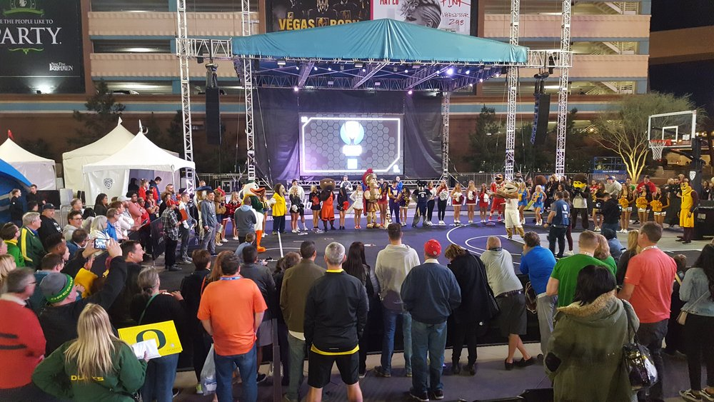 Mascot Madness at the Pac-12 Fan Plaza in Vegas.