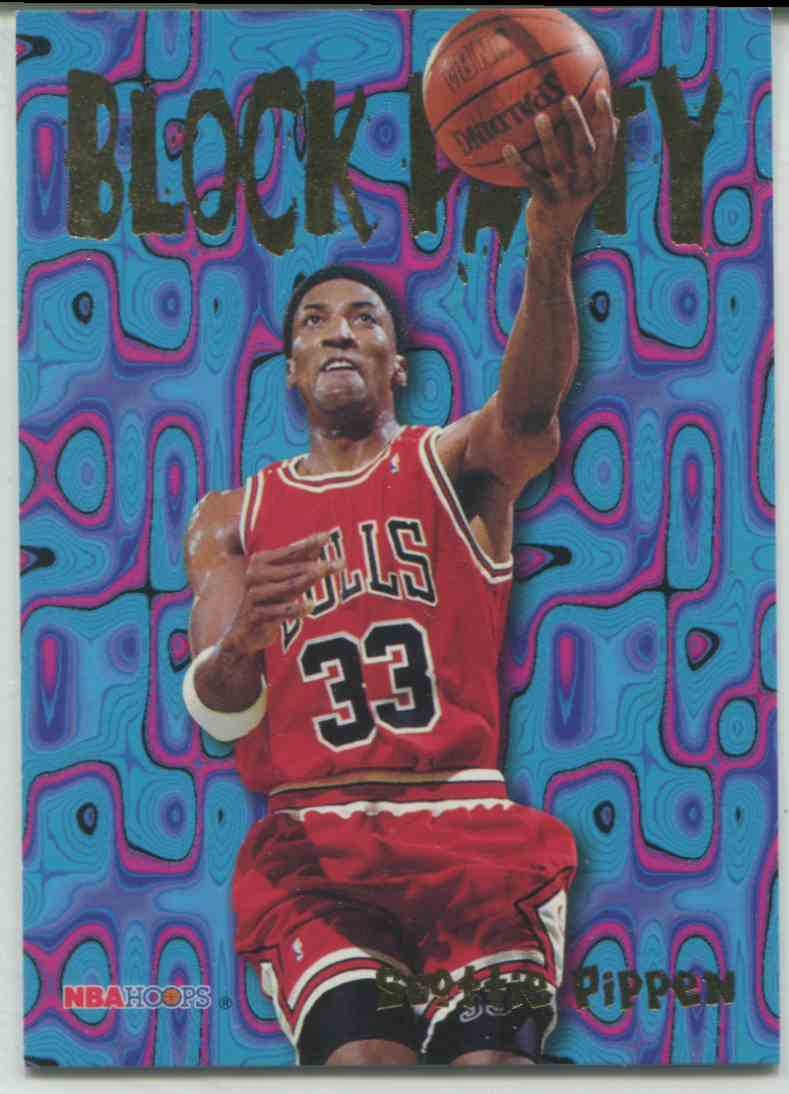 From the 95'-96' NBA Hoops Block Party set, my most coveted Scottie Pippen card. That's a strong lay-up.