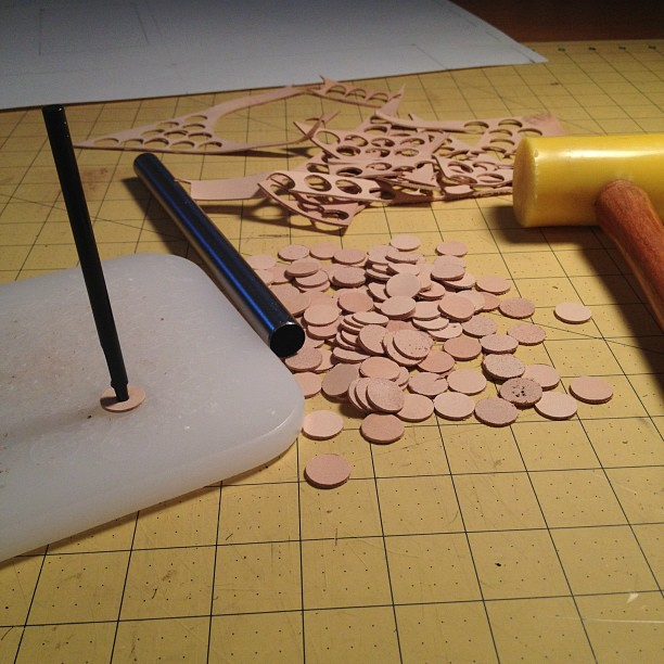Handmade leather washers for backing rivets. In the details.  (Taken with  Instagram )