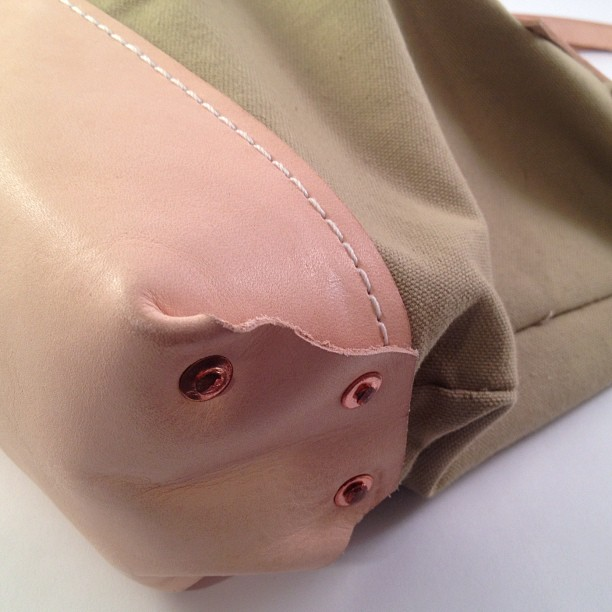 Bag detail. Hand hammered copper rivets (Taken with Instagram)