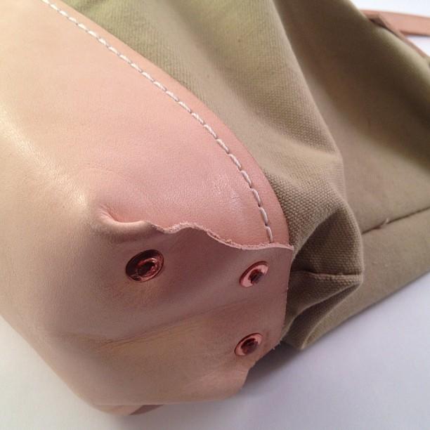 Bag detail. Hand hammered copper rivets (Taken with Instagram)