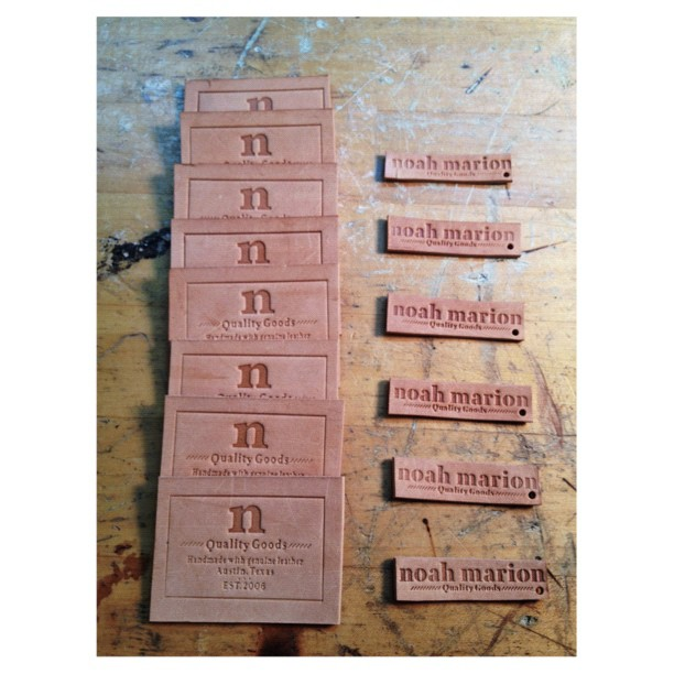 Embossing inner bag tags and hanging tags.