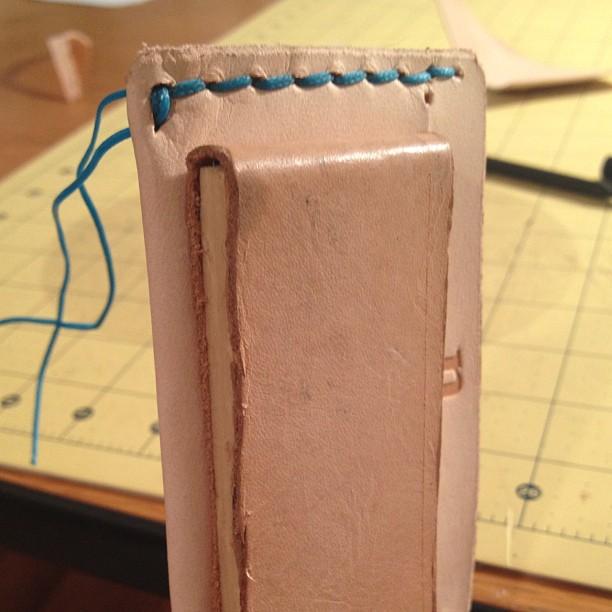 Slimline card case. Blue stitching!! (Taken with Instagram)