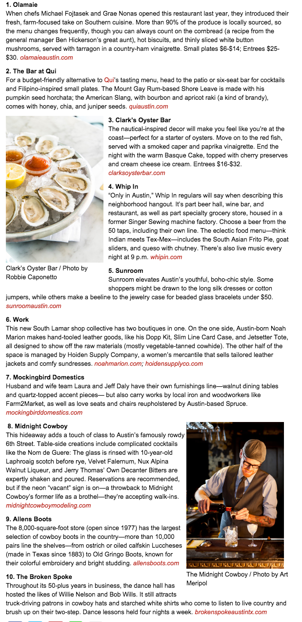 Southern Living Magazine TOP 10 for SXSW Noah Marion Quality Goods