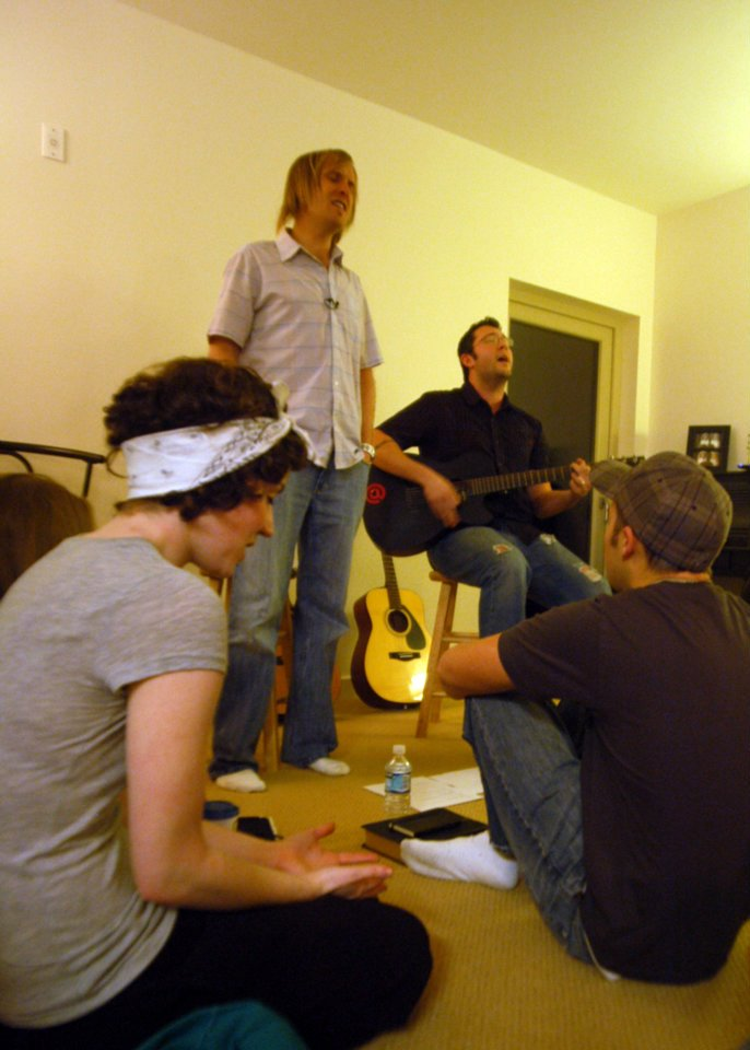 Pre-iPhone pic of one of the first apartment meetings. My future sister-in-law is on the left.