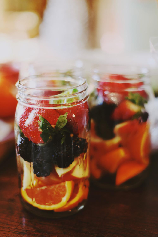 fruit filled mason jars a must.