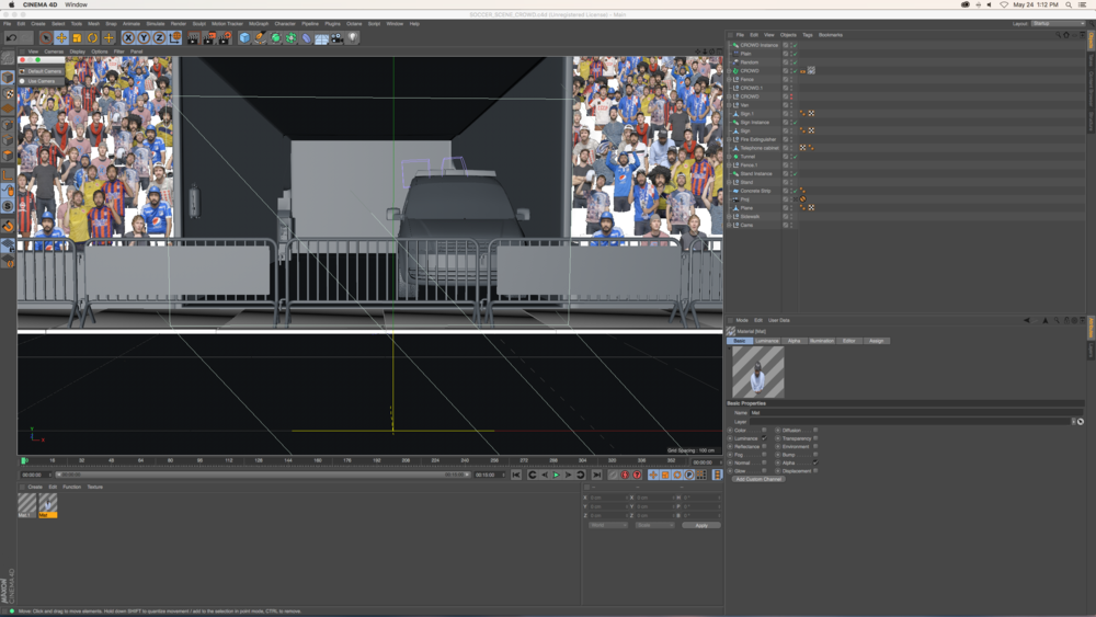 Putting the crowd together in Cinema4d.