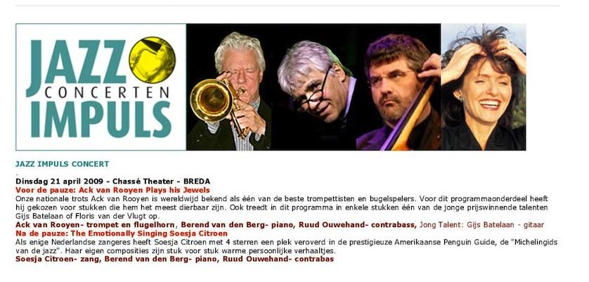 Tournee van Jazzimpuls met Ack van Rooyen en Ruud Ouwehand - 2009
