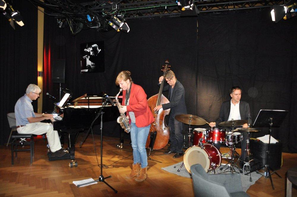 Het trio with Erik Robaard (bass), Joost Kesselaar (dr) en Marike van Dijk (sax). Vondel CS 02-07-2017. Foto: A. Fledderus