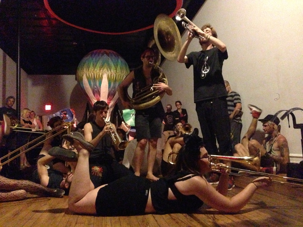 "07/12/13 - What Cheer? Brigade - Rhode Island based 19 piece brass punk band performs with Leslie Rogers ""Three Ring"" installation."