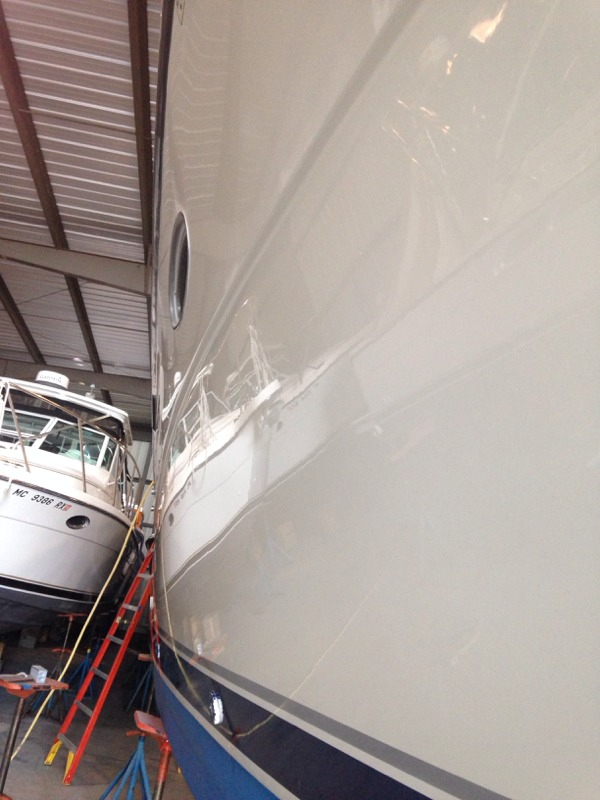 We love freshly buffed and waxed hullsides! Going to look great on the lake this summer!