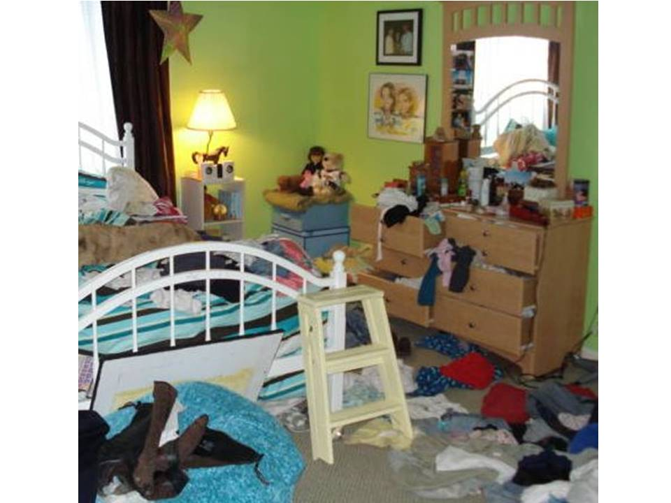 20 years from now you won't care that her room looked like this. Behavior modification is not the goal...