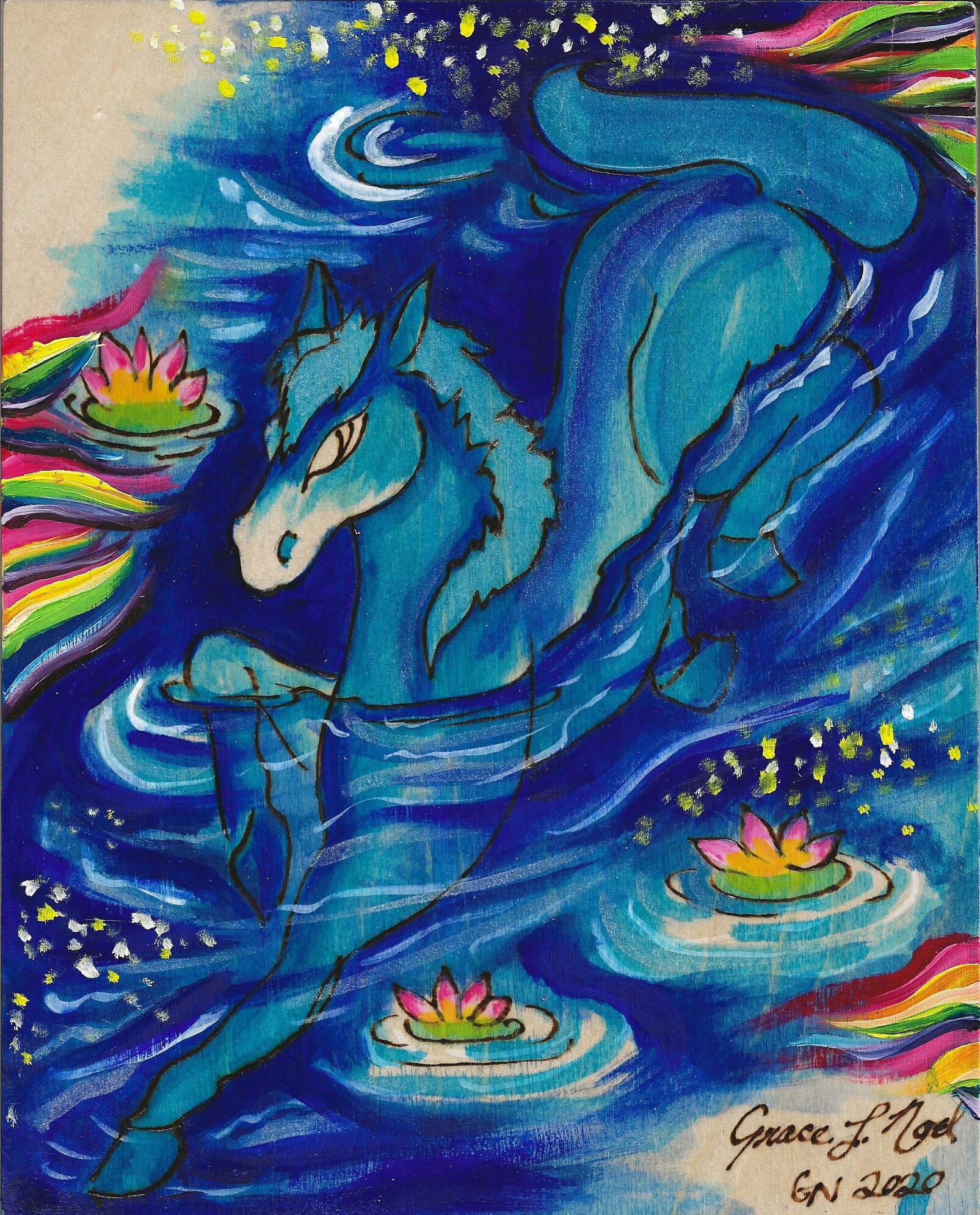 Water Horse Chinese Zodiac 5 Elements Series By Grace Noel Art Grace Noel