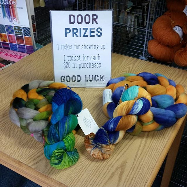 We're #open today, 10-4 at #stickplusstring! We still have #freebies to give away and you still have a chance to be entered into the #drawing for one of these four #prizes. The #DragynKnyts #trunkshow is still here with plenty of #yummy #handdyed #yarns and #fiber.