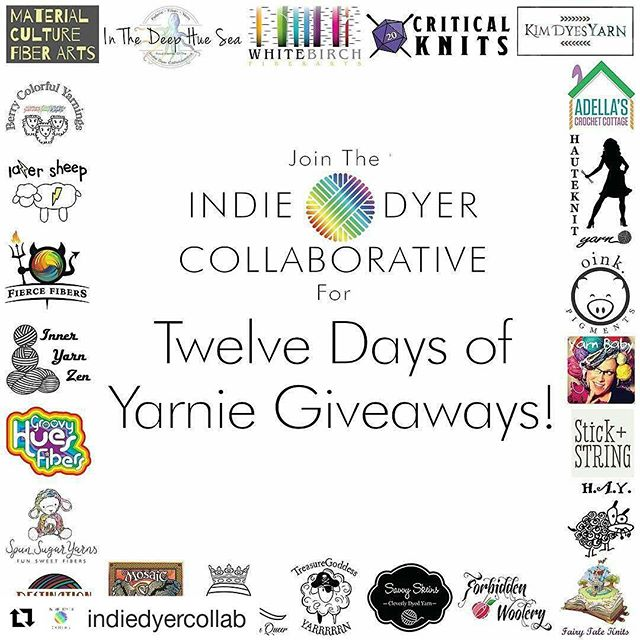 I'm a member of the Indie Dyer Collaborative and we're having a big #giveaway! 12 days of yarny #giveaways! I'm not participating in this round of giveaways, but 24 other awesome #dyers are. Head over to @indiedyercollab here on instagram and follow the link in the profile to lean how to enter.  #Repost @indiedyercollab with @repostapp ・・・ You guys!!! Starting tomorrow we will be doing #TwelveDaysOfYarnieGiveaways 24 skeins of hand dyed yarn!!! What could be better than that?! #indiedyercollab #indiedyercollaborative #indiedyedyarn #yarnie #ravelry #freeyarn #yarngiveaway #yarnsnob #yarnporn #crochetaddict #knit #crochet #knitting #fiberart