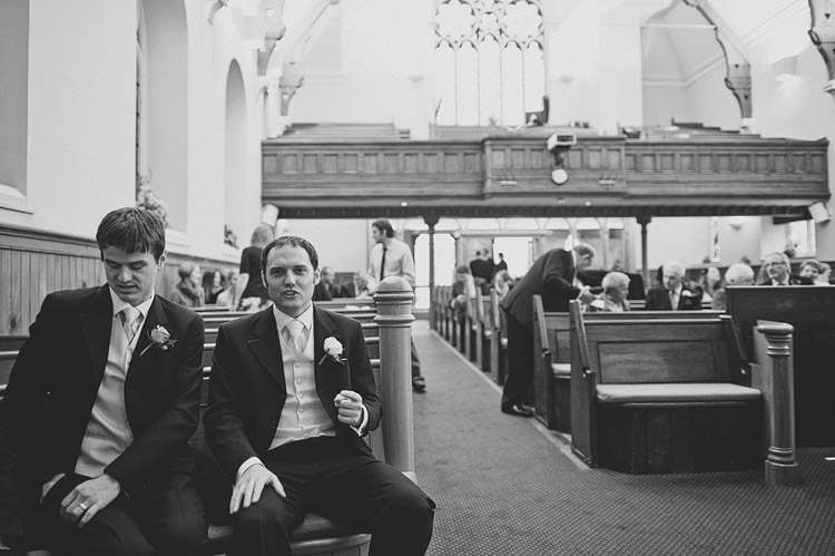 Groom waiting in church Northern Ireland wedding