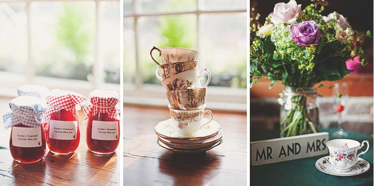 Vintage china and homemade jam Northern Ireland wedding