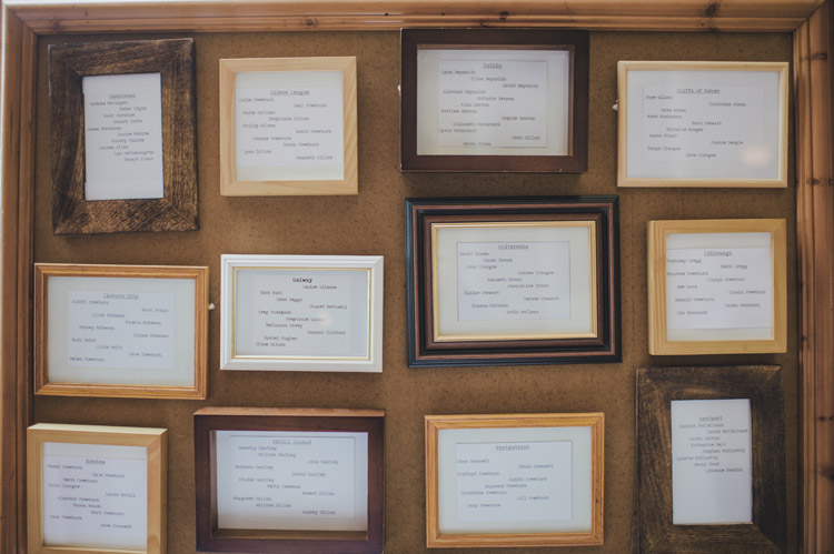 DIY table plan picture frames Northern Ireland wedding
