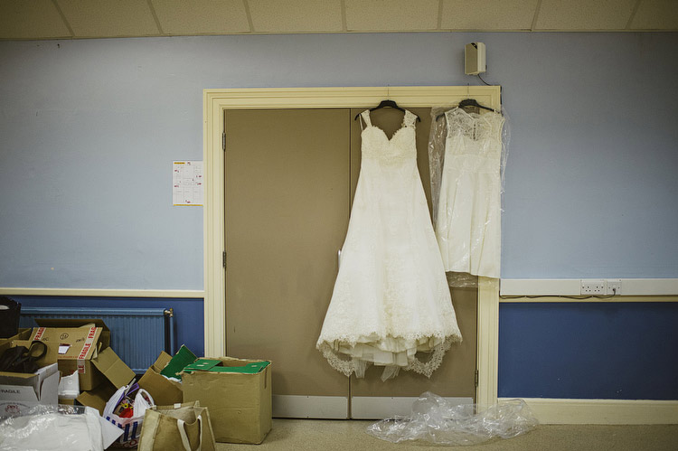 Two wedding dresses for day and evening