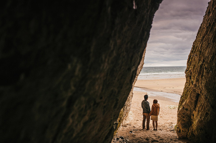 engagement portraits in a cave
