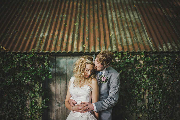 old tin shed wedding portrait