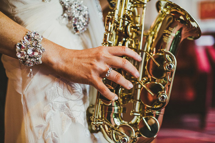 saxophone bride wedding