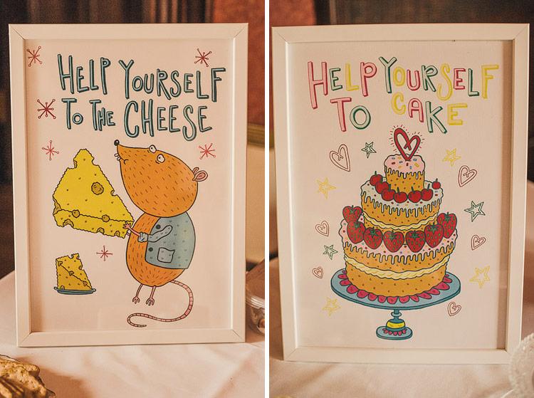 help yourself to cake wedding illustration