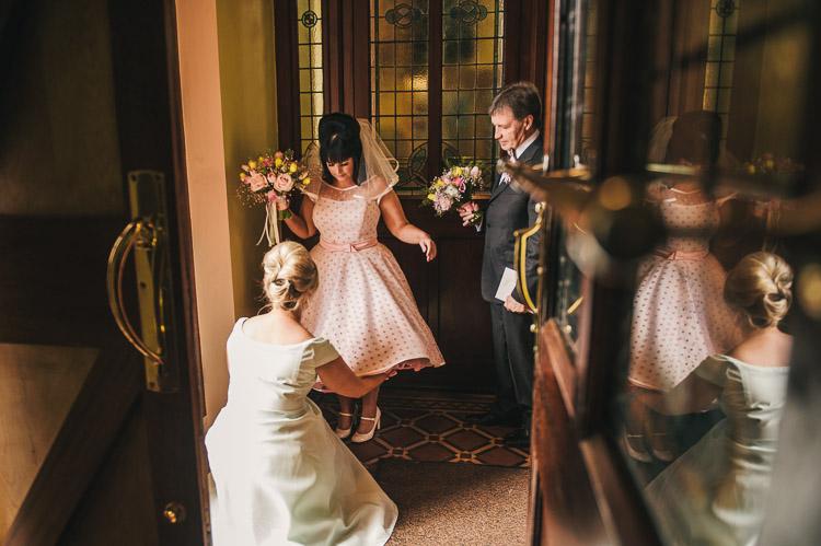 A 1960s Americana polka dot wedding dress