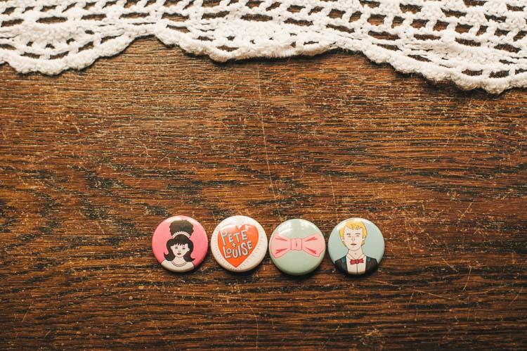 custom button badges wedding illustrations
