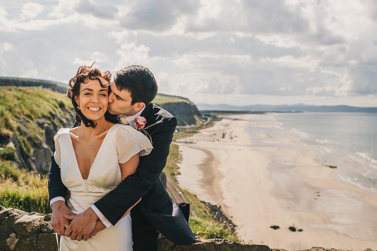 downhill beach wedding portraits