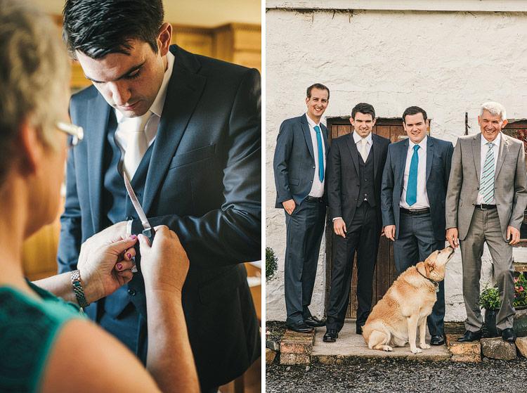 dog groomsmen wedding portrait