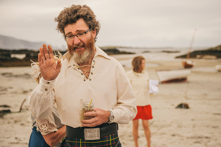Beach Wedding kilt in Donegal Ireland