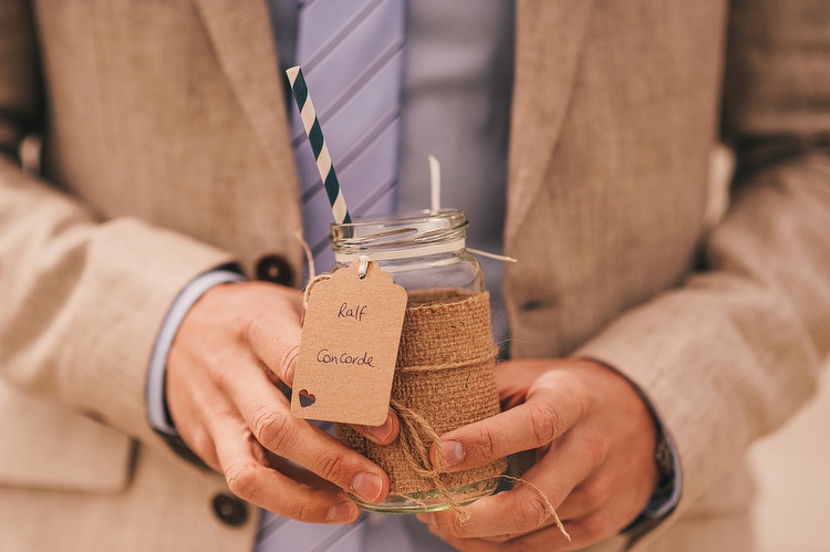 hessian canvas jar wedding