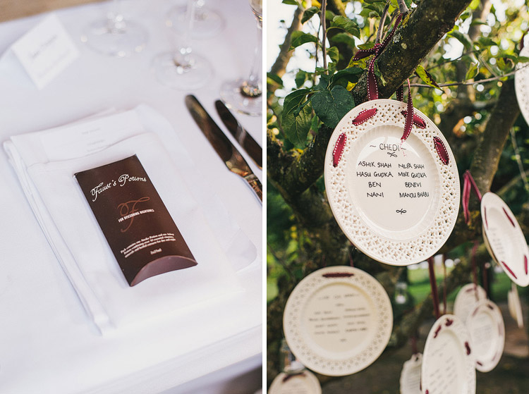 wedding table plan on hanging plates