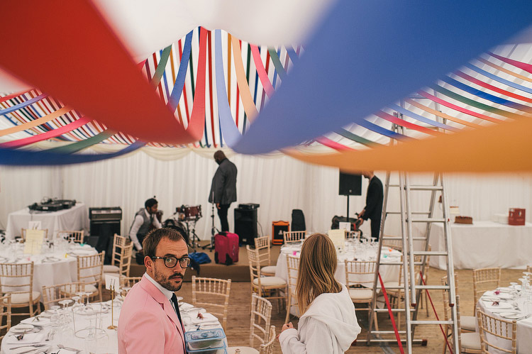 coloured ribbons marquee