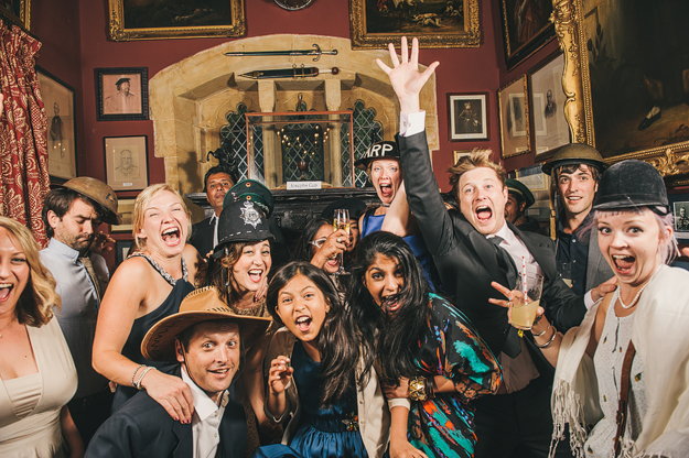 This isn't a 'Photo Booth'. we don't do this - not really our thing - although a totally valid way of getting a party going! All these props were lying around the venue (Maunsel House in Somerset) and I loved how people just picked things up and started messing around with them. Worked really well for photos.