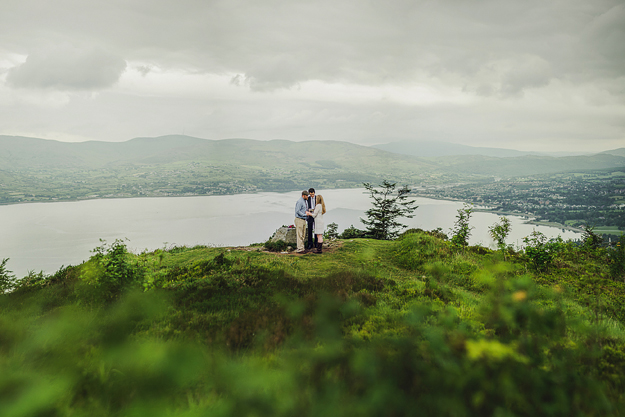 An American couple eloping on an Irish mountain. They had never been to Ireland before, but got in touch with us and we came up with this idea together. So if people are planning to get married far fro home, it's often a plan to get a photographer involved with the process, as they'll have good local knowledge and contacts.