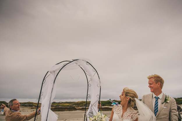 A ceremony on a beach in Donegal. Love it when couples go for non-typical wedding spaces. It's always a gamble with the weather, but fortune favours the brave and I have hardly ever had an outdoor wedding ceremony get rained off. Maybe once. A lot of people do the official paperwork a day or two beforehand, which gives them total freedom to get hitched wherever they want.