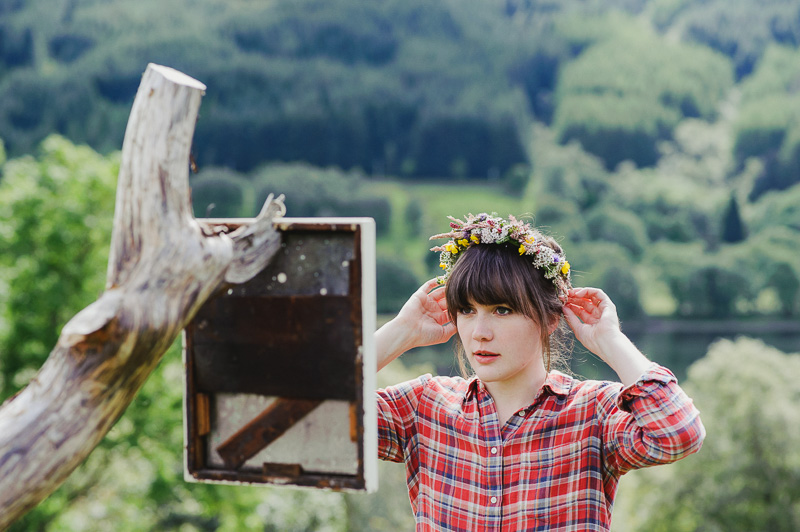 flower head piece garland wedding DIY