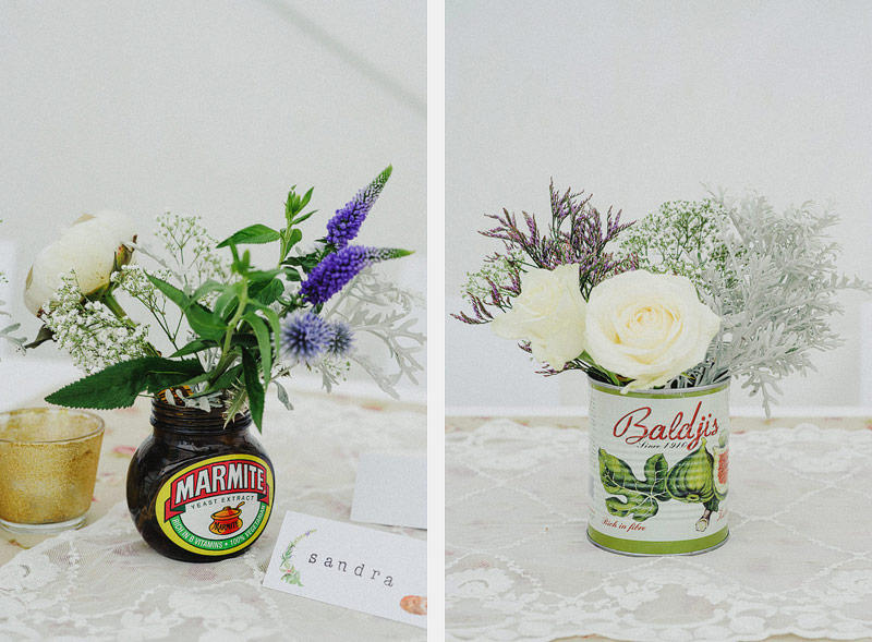 marmite jar wedding flowers